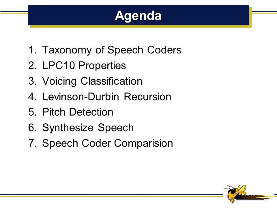 LPC10 2.4kbps federal standard in speech coding Soo Hyun Bae School of Electrical & Computer Engineering Georgia Institute of Technology ECE 8873 Data