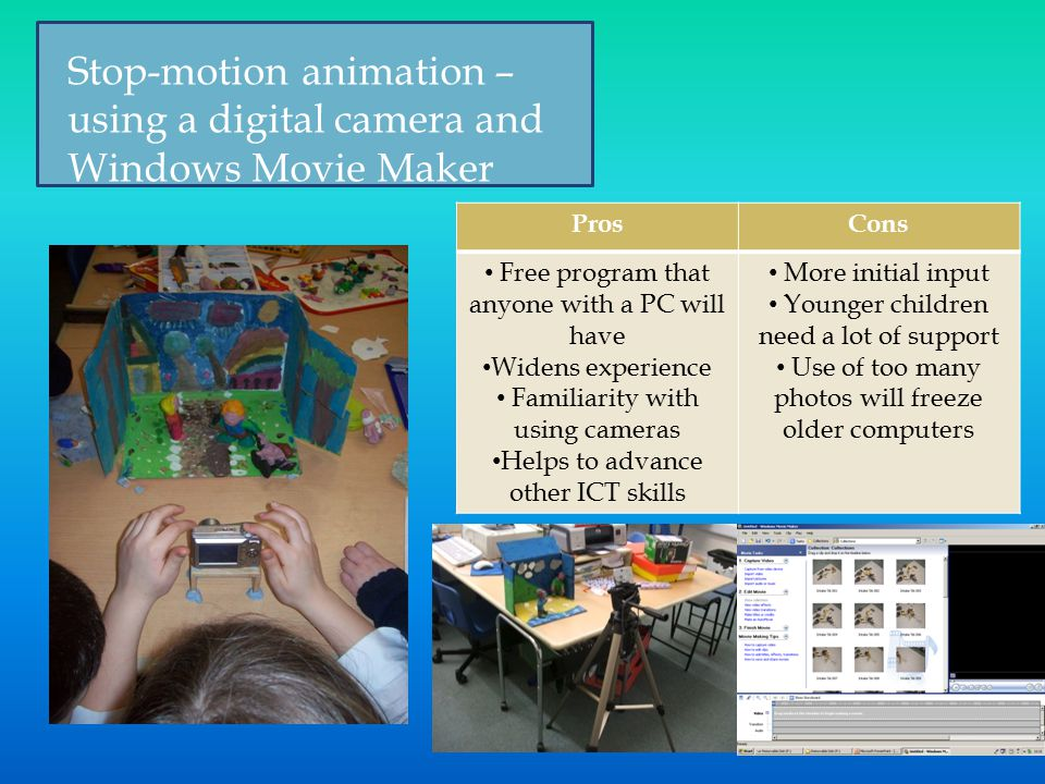 ProsCons Free program that anyone with a PC will have Widens experience Familiarity with using cameras Helps to advance other ICT skills More initial input Younger children need a lot of support Use of too many photos will freeze older computers Stop-motion animation – using a digital camera and Windows Movie Maker
