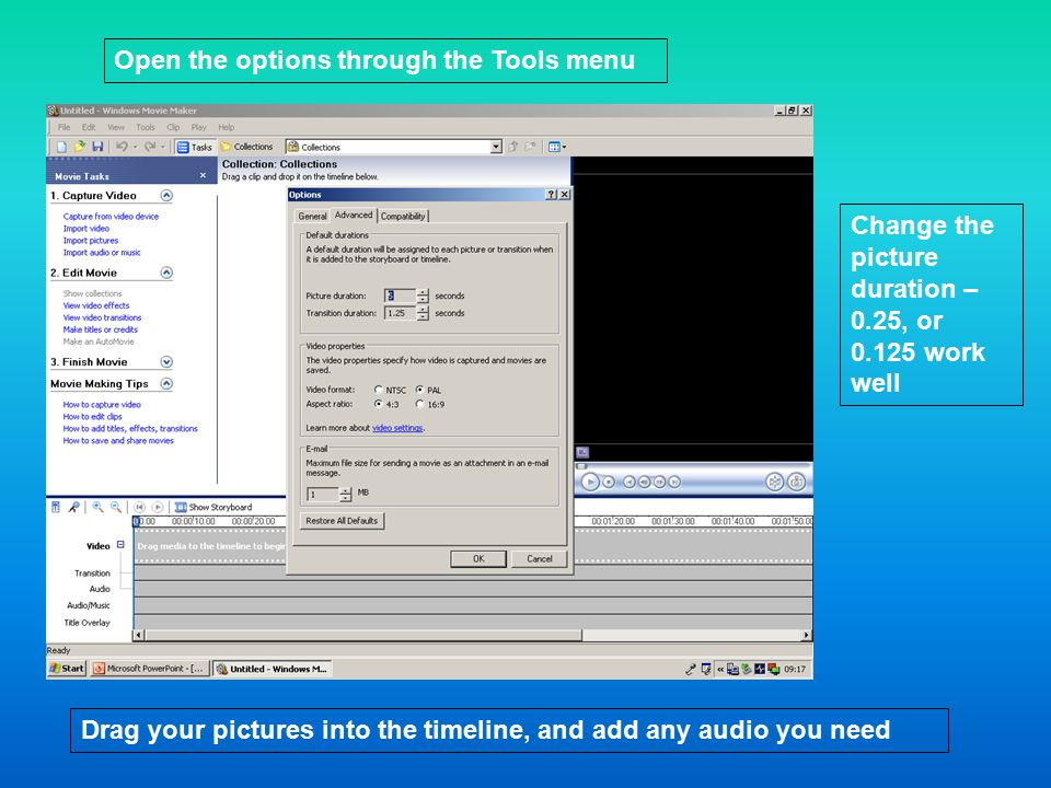 Open the options through the Tools menu Change the picture duration – 0.25, or work well Drag your pictures into the timeline, and add any audio you need