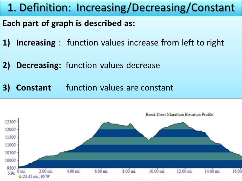 Each part of graph is described as: 1)Increasing : function values increase from left to right 2)Decreasing: function values decrease 3)Constant function values are constant Each part of graph is described as: 1)Increasing : function values increase from left to right 2)Decreasing: function values decrease 3)Constant function values are constant 1.