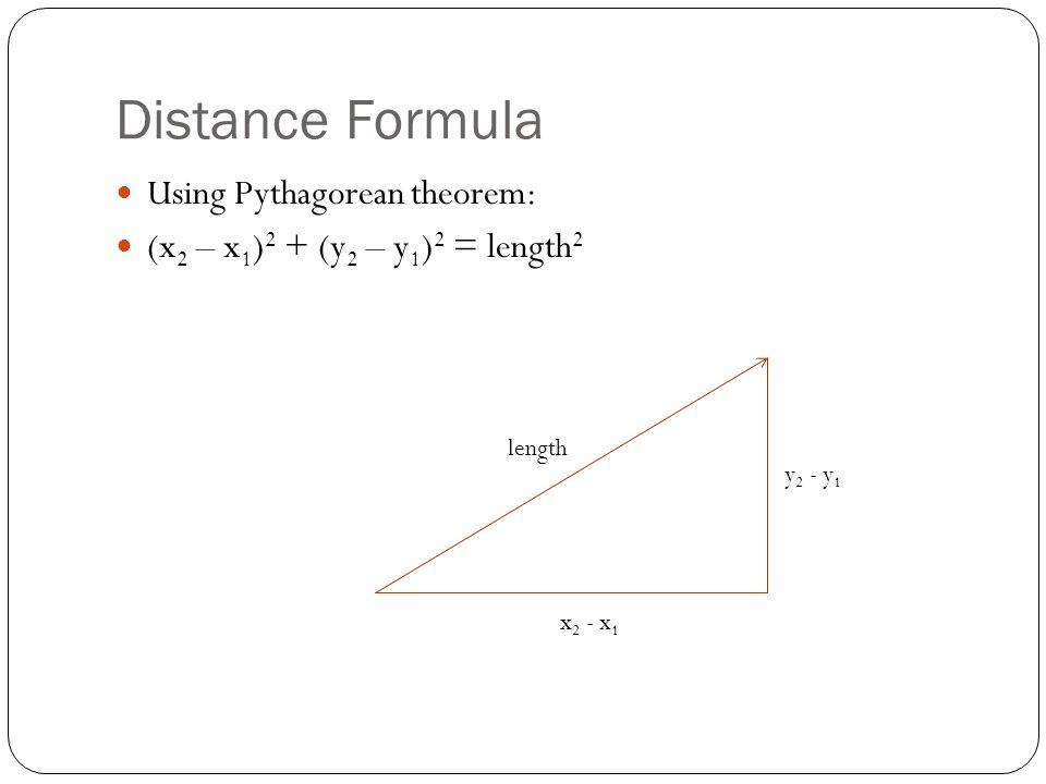 Distance Formula Using Pythagorean theorem: (x 2 – x 1 ) 2 + (y 2 – y 1 ) 2 = length 2 x 2 - x 1 y 2 - y 1 length