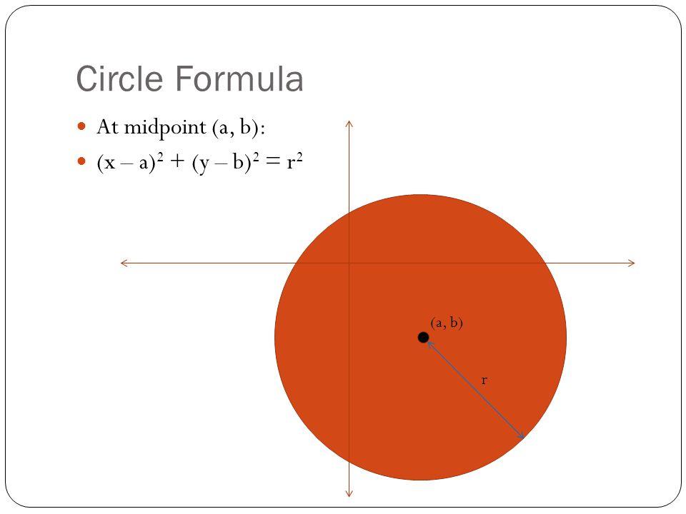 Circle Formula At midpoint (a, b): (x – a) 2 + (y – b) 2 = r 2 r (a, b)