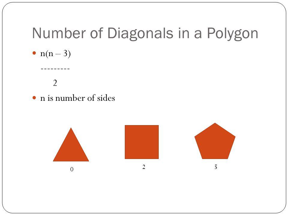 Number of Diagonals in a Polygon n(n – 3) --------- 2 n is number of sides 0 25