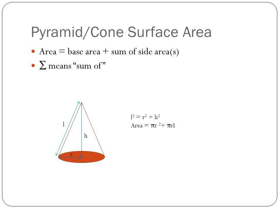 """Pyramid/Cone Surface Area Area = base area + sum of side area(s) ∑ means """"sum of"""" l 2 = r 2 + h 2 Area = π r 2 + π rl h r l"""