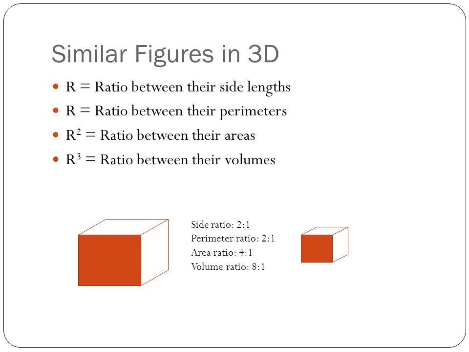Similar Figures in 3D R = Ratio between their side lengths R = Ratio between their perimeters R 2 = Ratio between their areas R 3 = Ratio between thei