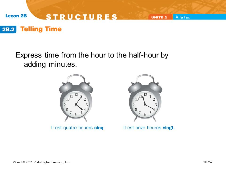 © and ® 2011 Vista Higher Learning, Inc.2B.2-2 Express time from the hour to the half-hour by adding minutes.