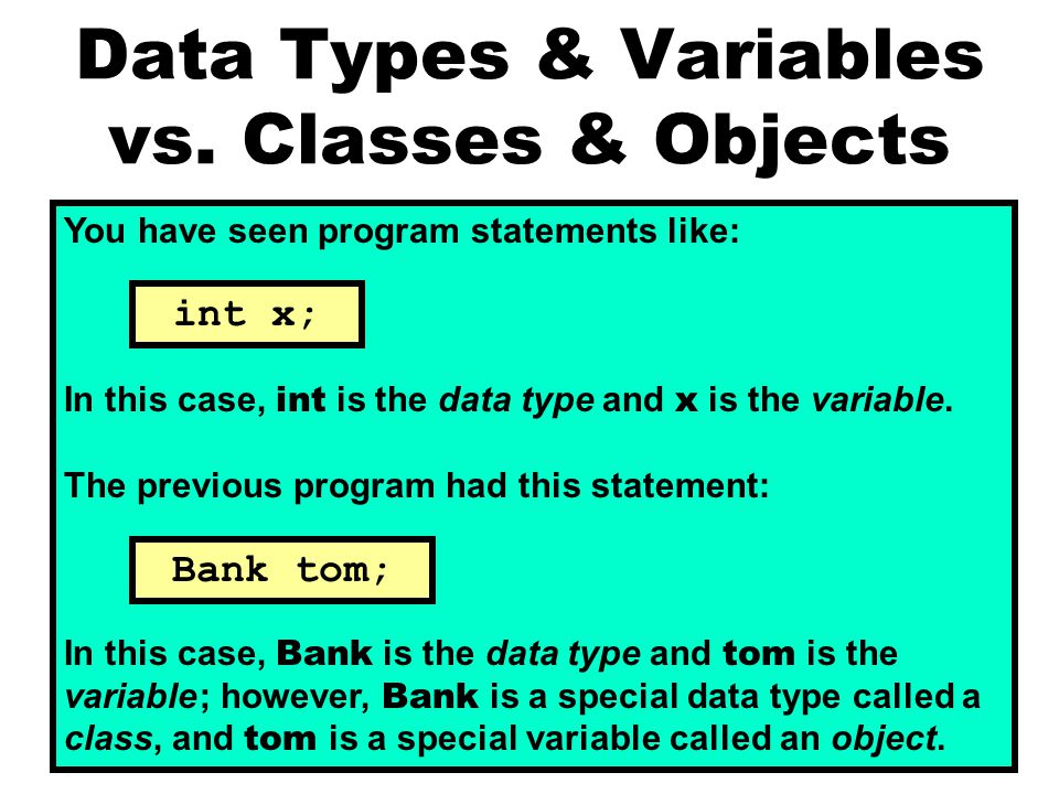 Data Types & Variables vs.