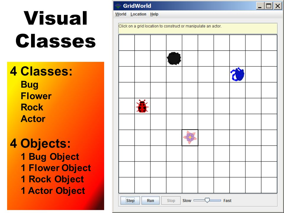 Visual Classes 4 Classes: Bug Flower Rock Actor 4 Objects: 1 Bug Object 1 Flower Object 1 Rock Object 1 Actor Object