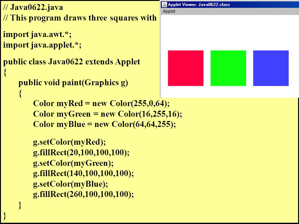 // Java0622.java // This program draws three squares with user-defined objects.