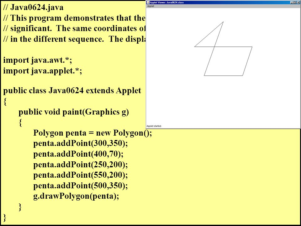 // Java0624.java // This program demonstrates that the sequence of adding points is // significant.