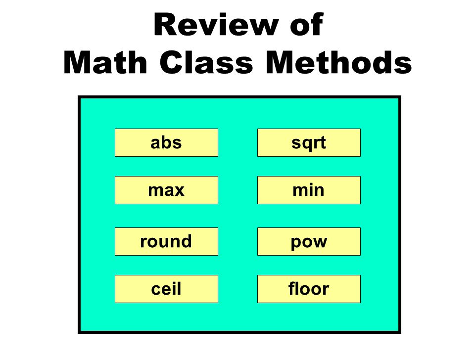 Review of Math Class Methods abssqrt minmax powround ceilfloor