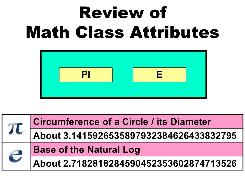 Review of Math Class Attributes PIE Circumference of a Circle / its Diameter About 3.1415926535897932384626433832795 Base of the Natural Log About 2.7182818284590452353602874713526