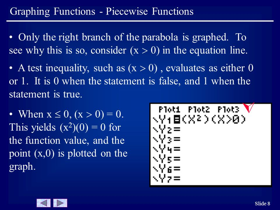 Slide 8 Graphing Functions - Piecewise Functions Only the right branch of the parabola is graphed. To see why this is so, consider (x  0) in the equa