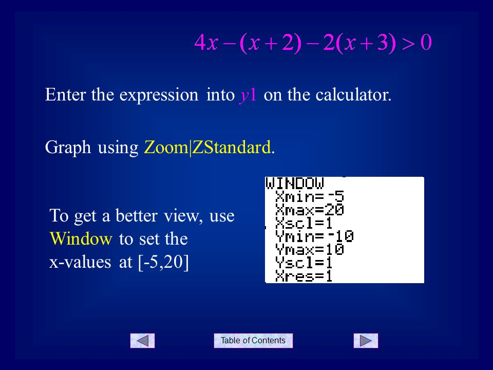 Table of Contents Enter the expression into y1 on the calculator.