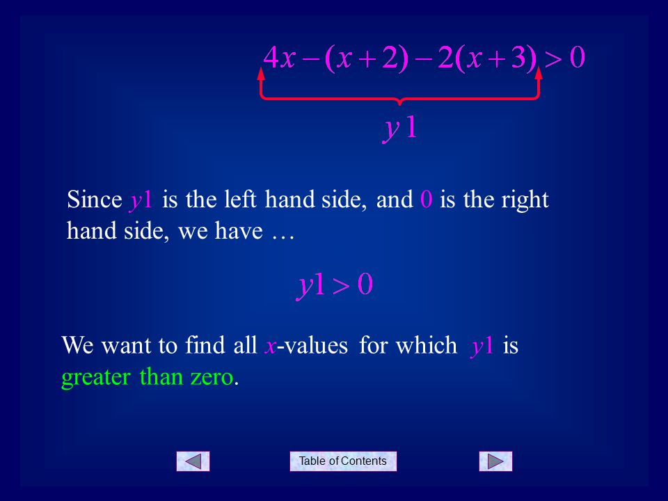Table of Contents Since y1 is the left hand side, and 0 is the right hand side, we have … We want to find all x-values for which y1 is greater than zero.