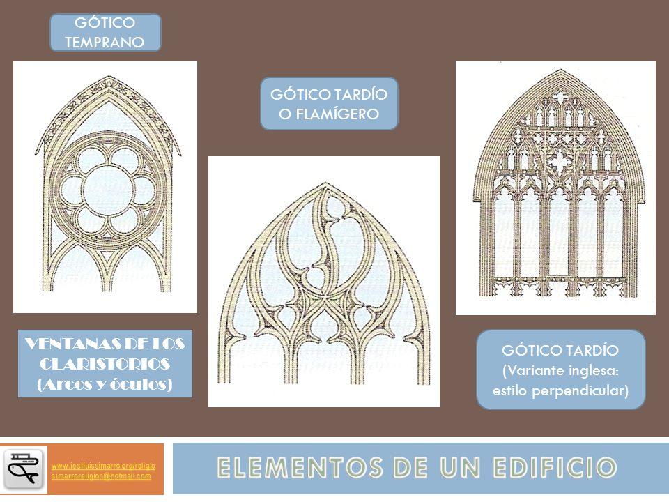 GÓTICO TARDÍO (Variante inglesa: estilo perpendicular) GÓTICO TARDÍO O FLAMÍGERO GÓTICO TEMPRANO VENTANAS DE LOS CLARISTORIOS (Arcos y óculos)