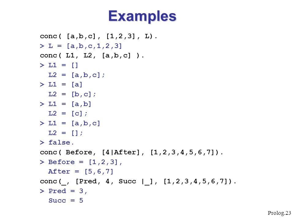 Prolog.23 conc( [a,b,c], [1,2,3], L). > L = [a,b,c,1,2,3] conc( L1, L2, [a,b,c] ). > L1 = [] L2 = [a,b,c]; > L1 = [a] L2 = [b,c]; > L1 = [a,b] L2 = [c