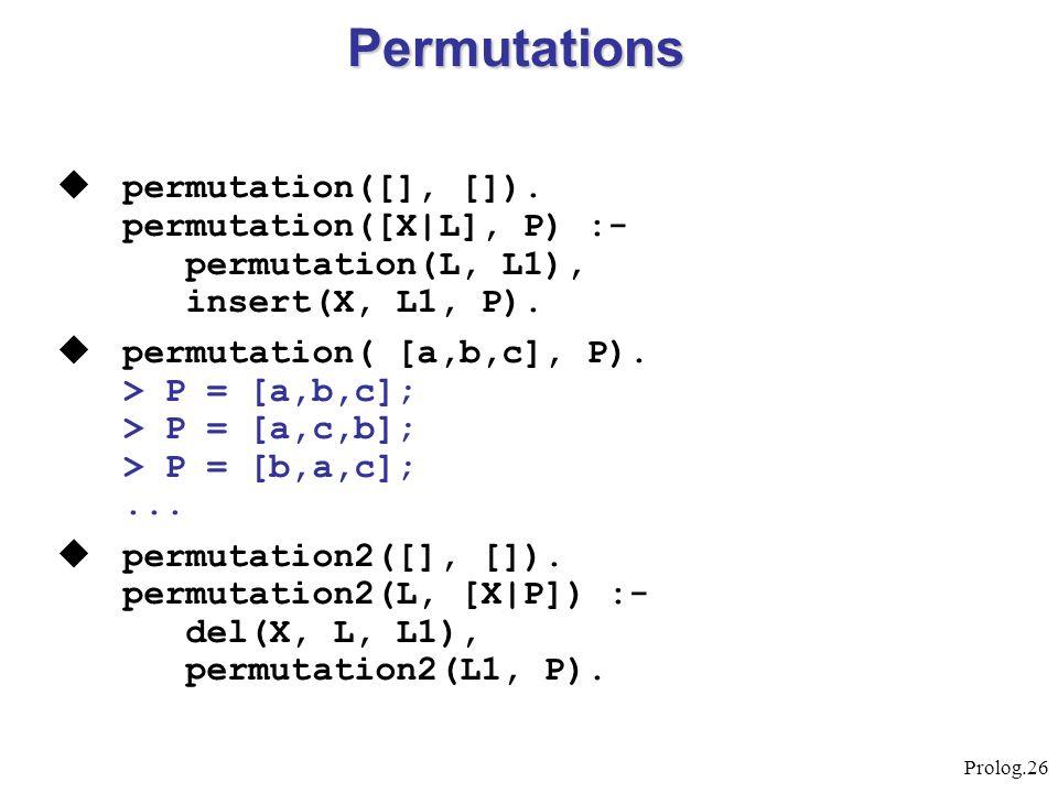 Prolog.26  permutation([], []). permutation([X L], P) :- permutation(L, L1), insert(X, L1, P).  permutation( [a,b,c], P). > P = [a,b,c]; > P = [a,c,