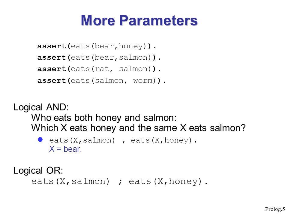 Prolog.5 assert(eats(bear,honey)). assert(eats(bear,salmon)). assert(eats(rat, salmon)). assert(eats(salmon, worm)). Logical AND: Who eats both honey