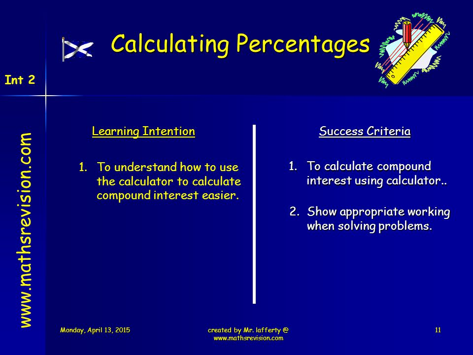Learning Intention Success Criteria 1.To calculate compound interest using calculator.. 1.To understand how to use the calculator to calculate compoun