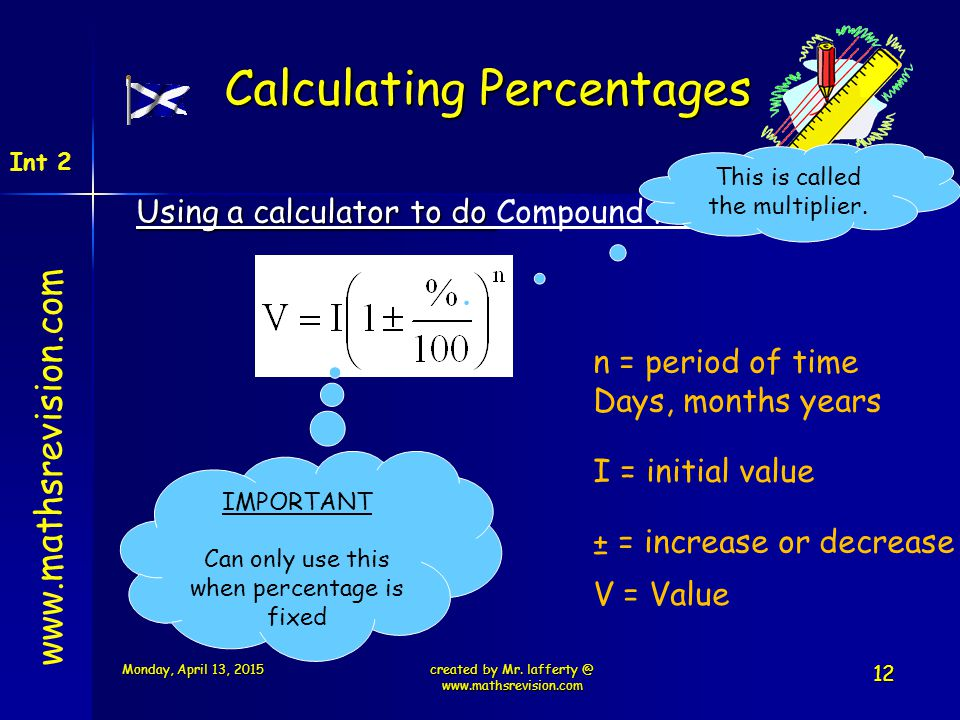www.mathsrevision.com Int 2 Calculating Percentages Using a calculator to do Using a calculator to do Compound Formula created by Mr. lafferty @ www.m