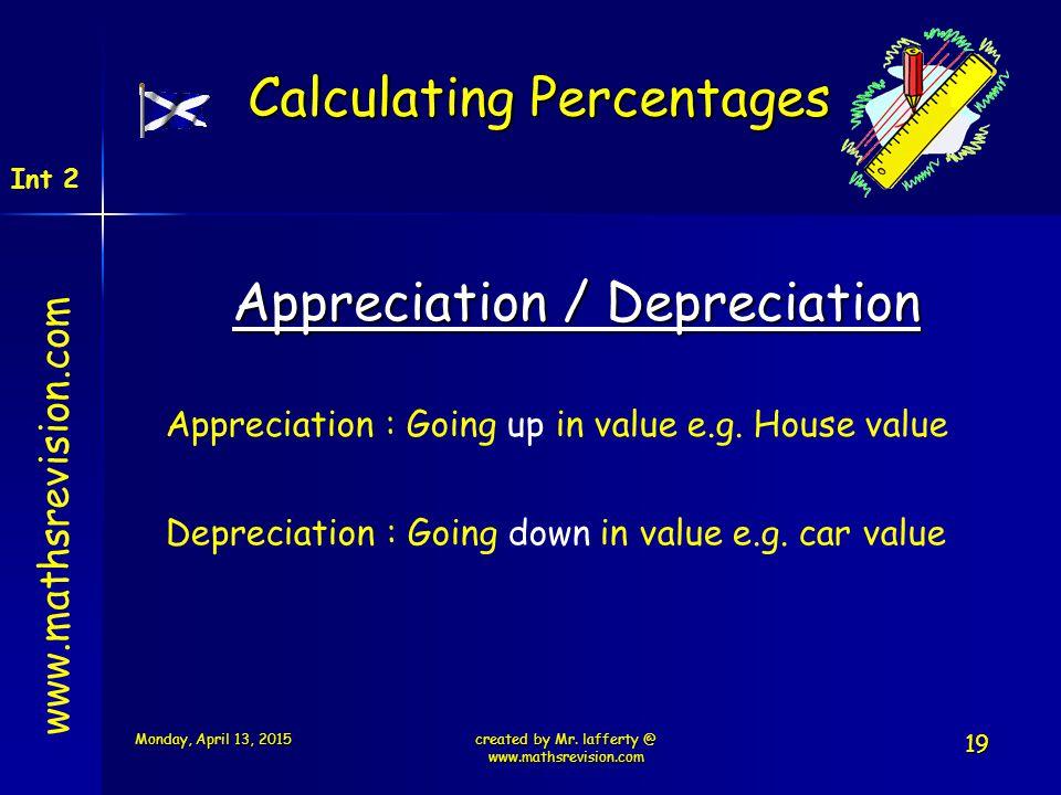 www.mathsrevision.com Int 2 Calculating Percentages Appreciation / Depreciation Appreciation : Going up in value e.g. House value Depreciation : Going