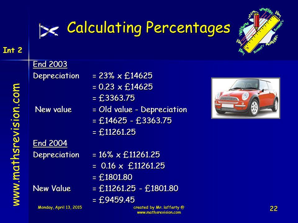 www.mathsrevision.com Int 2 Calculating Percentages End 2003 Depreciation = 23% x £14625 = 0.23 x £14625 = £3363.75 New value= Old value - Depreciatio
