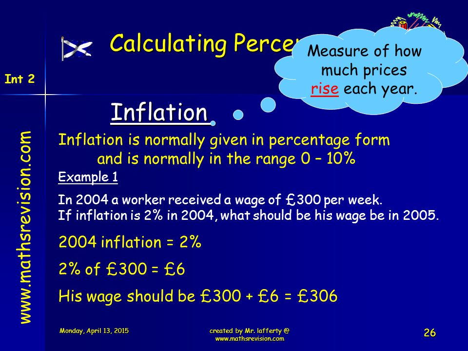 www.mathsrevision.com Int 2 Calculating Percentages Inflation Inflation is normally given in percentage form and is normally in the range 0 – 10% Exam