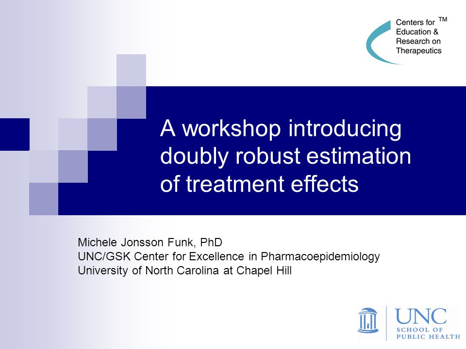 12 Conceptual description Doubly robust (DR) estimation uses two models:  Propensity score model for the confounder - exposure (or treatment) relationship  Outcome regression model for the confounder – outcome relationship, under each exposure condition These two stages can use:  different subsets of covariates, and  different parametric forms.