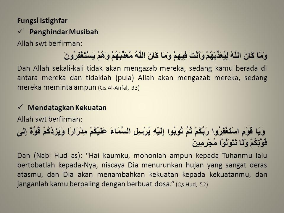 Fungsi Istighfar Penghindar Musibah Allah swt berfirman: وَمَا كَانَ اللَّهُ لِيُعَذِّبَهُمْ وَأَنْتَ فِيهِمْ وَمَا كَانَ اللَّهُ مُعَذِّبَهُمْ وَهُمْ