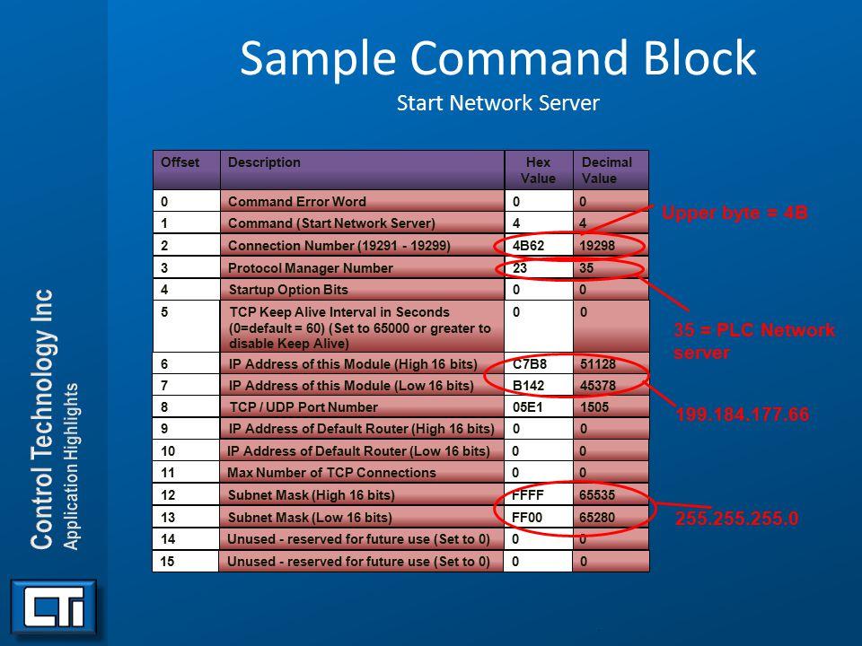 Sample Command Block Start Network Server. OffsetDescription Command Error Word Command (Start Network Server) Connection Number (19291 - 19299) Proto