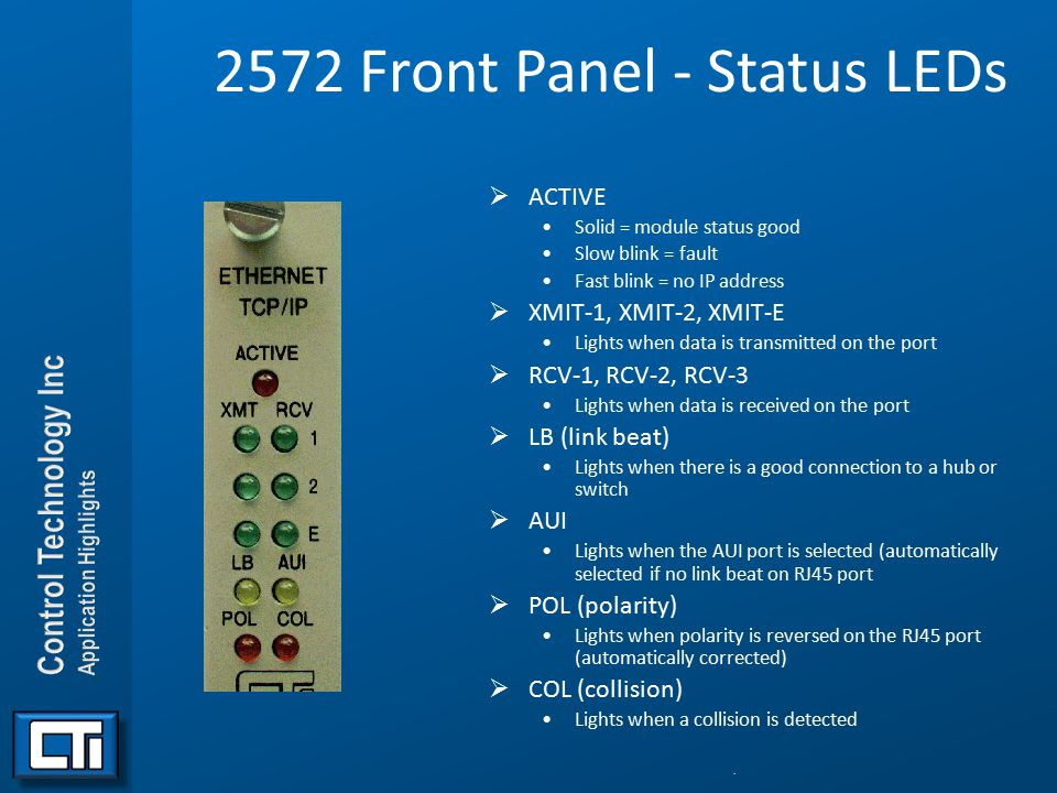 2572 Front Panel - Status LEDs  ACTIVE Solid = module status good Slow blink = fault Fast blink = no IP address  XMIT-1, XMIT-2, XMIT-E Lights when