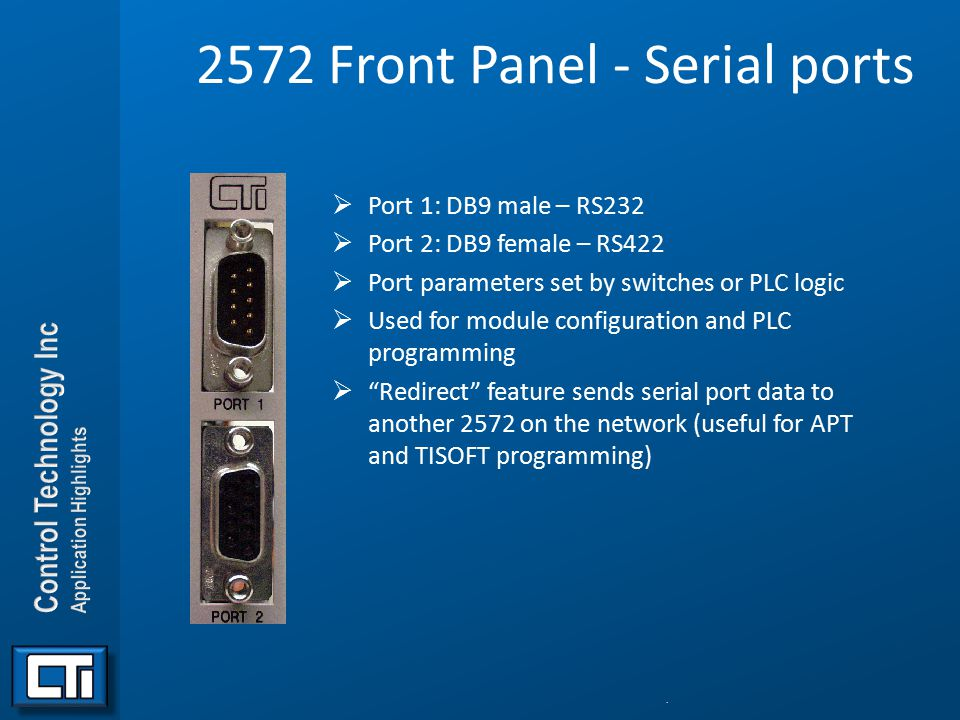 2572 Front Panel - Serial ports  Port 1: DB9 male – RS232  Port 2: DB9 female – RS422  Port parameters set by switches or PLC logic  Used for modu