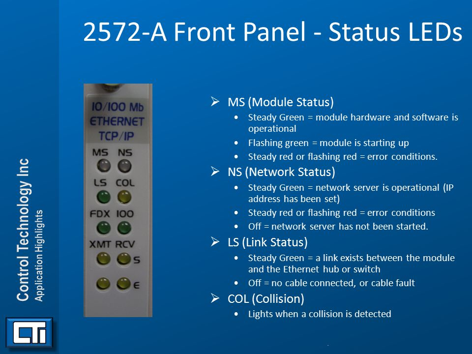2572-A Front Panel - Status LEDs  MS (Module Status) Steady Green = module hardware and software is operational Flashing green = module is starting u