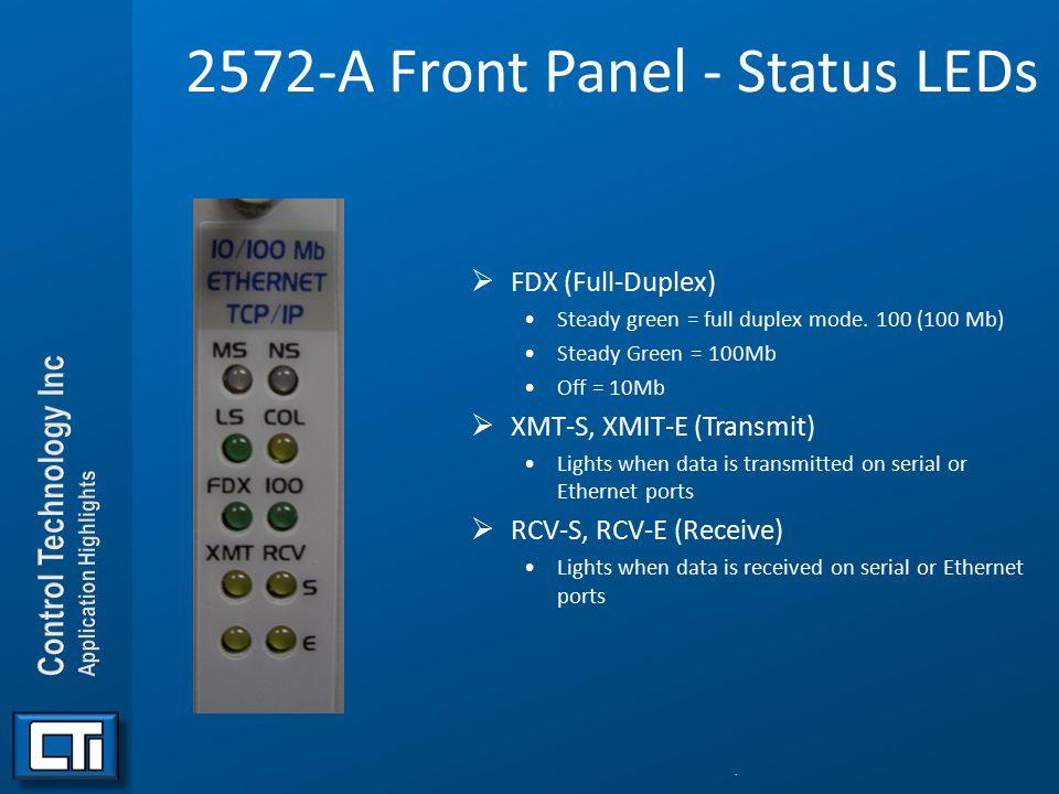 2572-A Front Panel - Status LEDs  FDX (Full-Duplex) Steady green = full duplex mode. 100 (100 Mb) Steady Green = 100Mb Off = 10Mb  XMT-S, XMIT-E (Tr