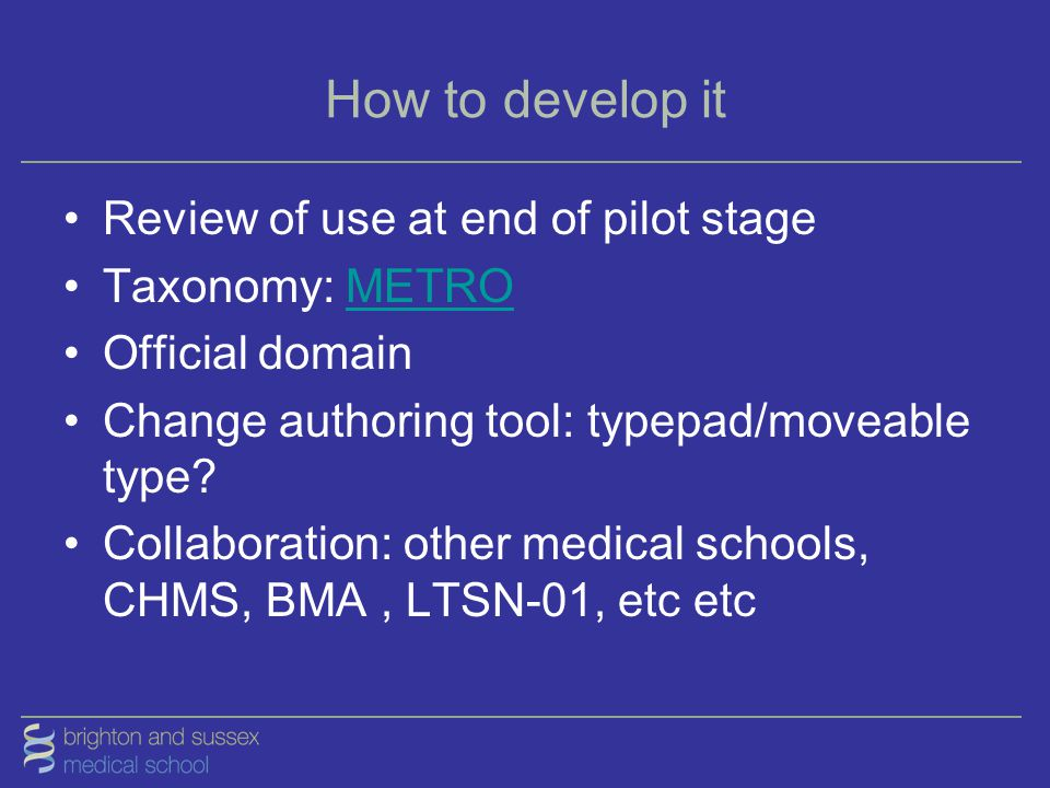 How to develop it Review of use at end of pilot stage Taxonomy: METROMETRO Official domain Change authoring tool: typepad/moveable type? Collaboration