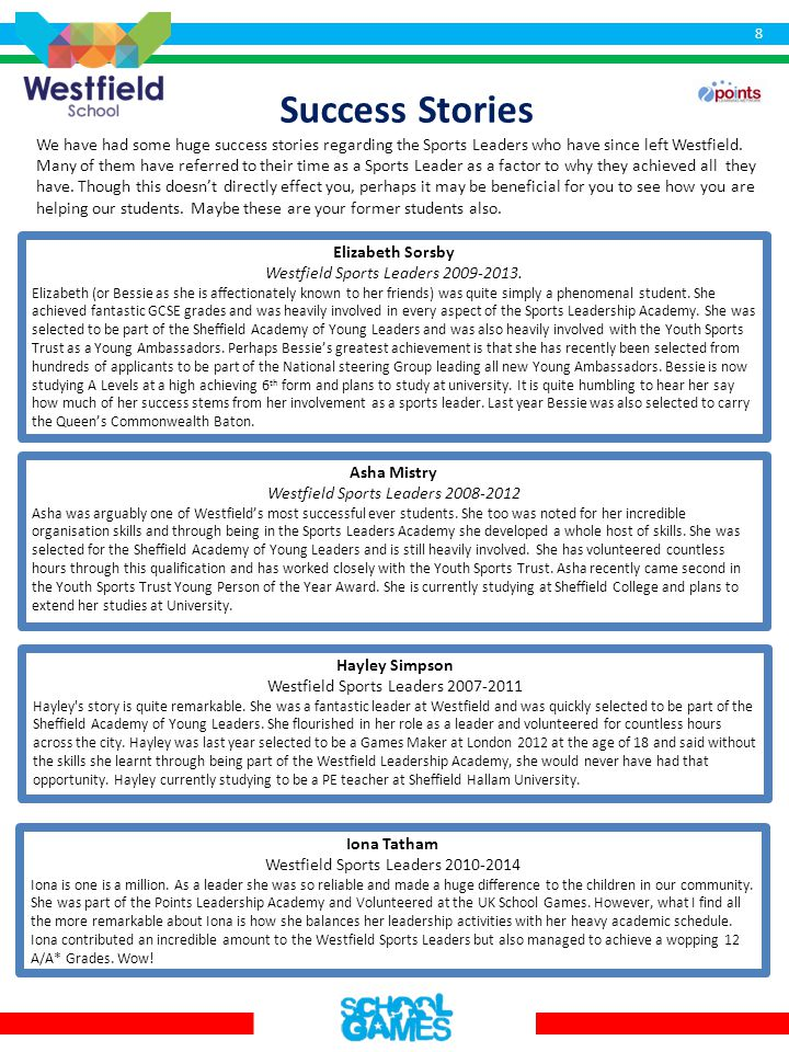 Success Stories We have had some huge success stories regarding the Sports Leaders who have since left Westfield.