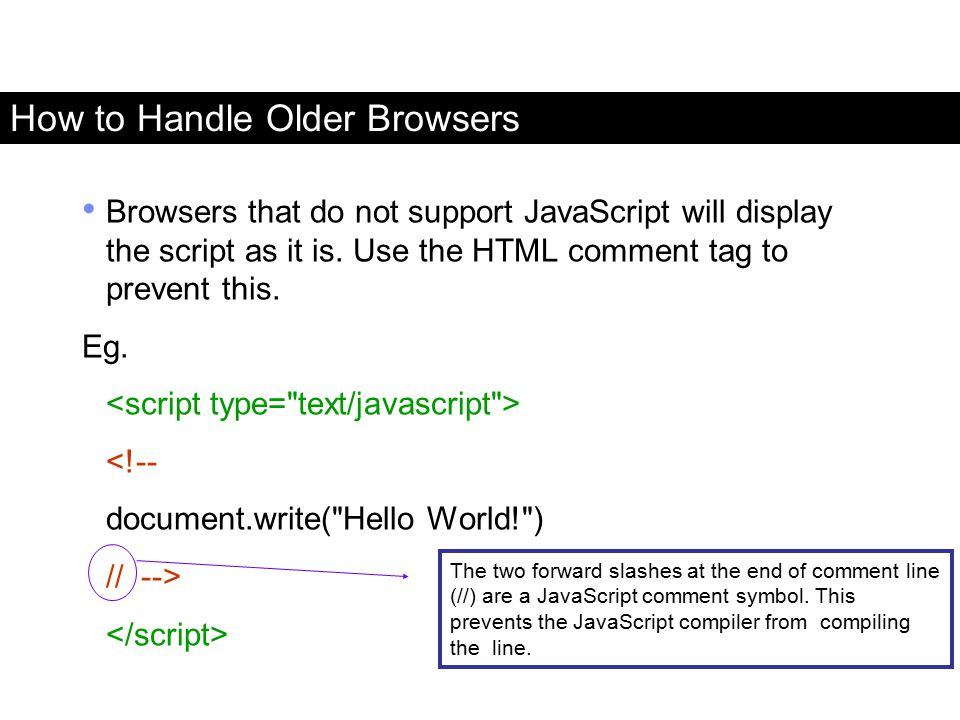 How to Handle Older Browsers Browsers that do not support JavaScript will display the script as it is. Use the HTML comment tag to prevent this. Eg. <