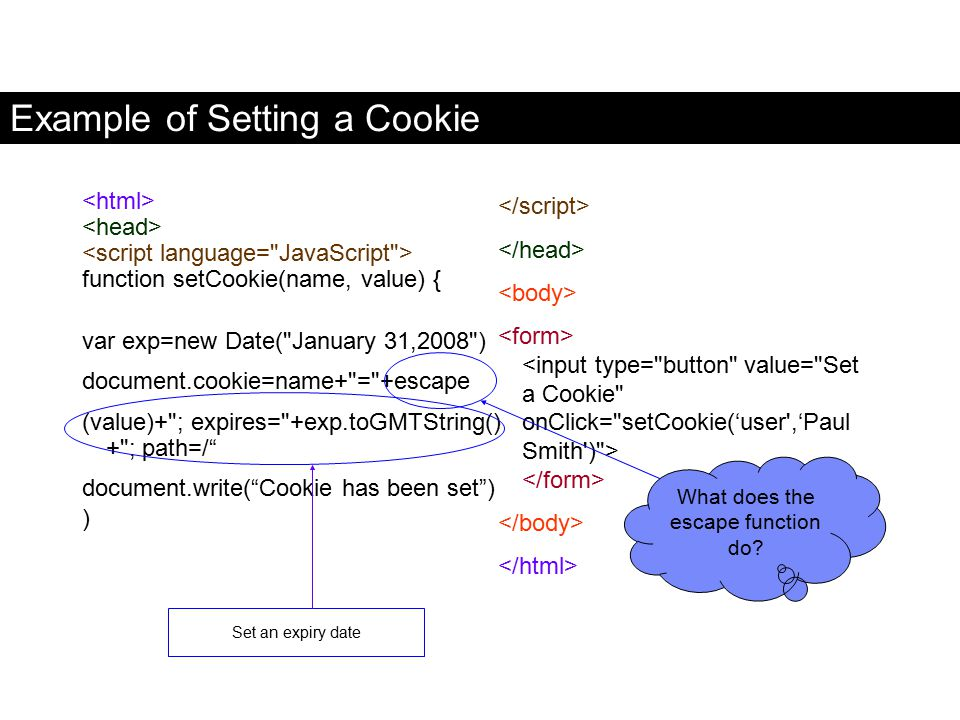 Example of Setting a Cookie function setCookie(name, value) { var exp=new Date(
