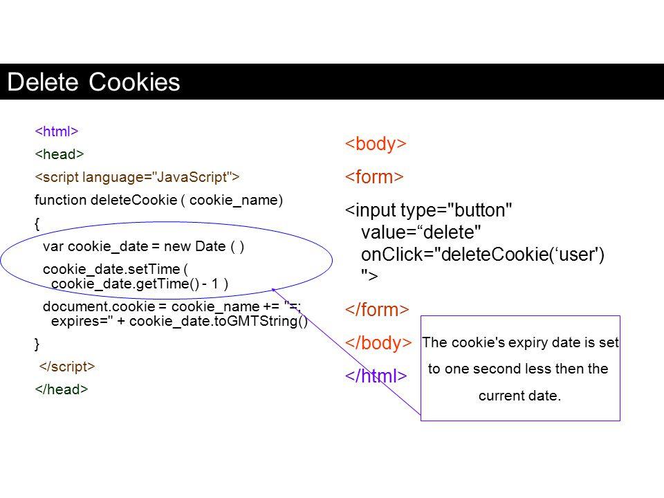 Delete Cookies function deleteCookie ( cookie_name) { var cookie_date = new Date ( ) cookie_date.setTime ( cookie_date.getTime() - 1 ) document.cookie