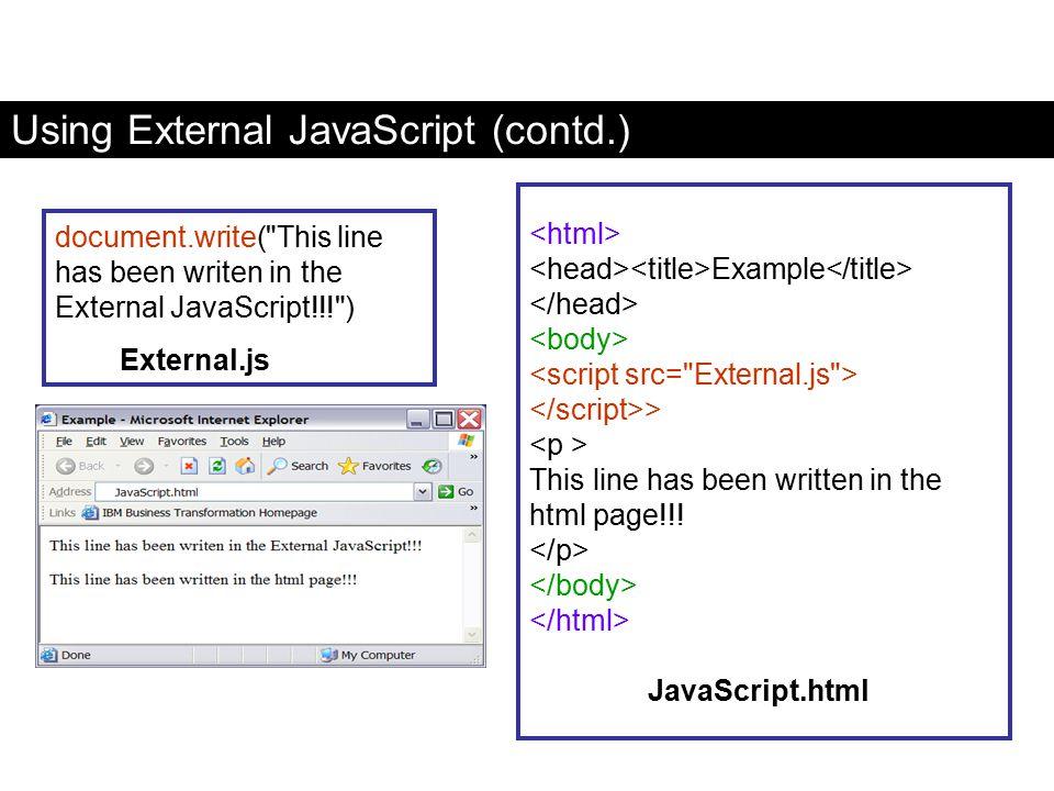 Using External JavaScript (contd.) document.write(