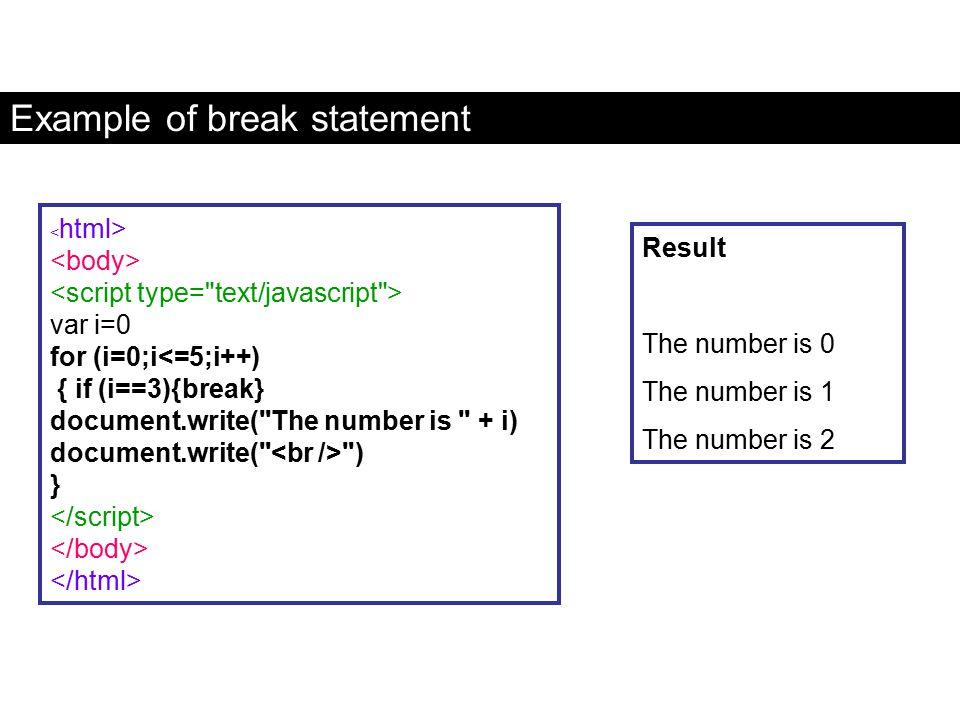 Example of break statement var i=0 for (i=0;i<=5;i++) { if (i==3){break} document.write(