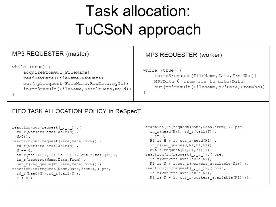 Task allocation: TuCSoN approach while (true) { acquireFromGUI(FileName) readRawData(FileName,RawData) out(mp3request(FileName,RawData,myId)) in(mp3result(FileName,ResultData,myId)) } while (true) { in(mp3request(FileName,Data,FromWho)) MP3Data  from_raw_to_data(Data) out(mp3result(FileName,MP3Data,FromWho)) } reaction(out(request(_,_,_)),( rd_r(workers_available(N)), N>0)).