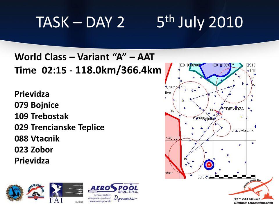 TASK – DAY 2 5 th July 2010 World Class – Variant A – AAT Time 02:15 - 118.0km/366.4km Prievidza 079 Bojnice 109 Trebostak 029 Trencianske Teplice 088 Vtacnik 023 Zobor Prievidza