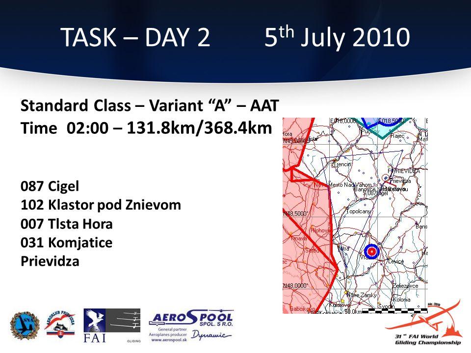 Standard Class – Variant A – AAT Time 02:00 – 131.8km/368.4km 087 Cigel 102 Klastor pod Znievom 007 Tlsta Hora 031 Komjatice Prievidza TASK – DAY 2 5 th July 2010