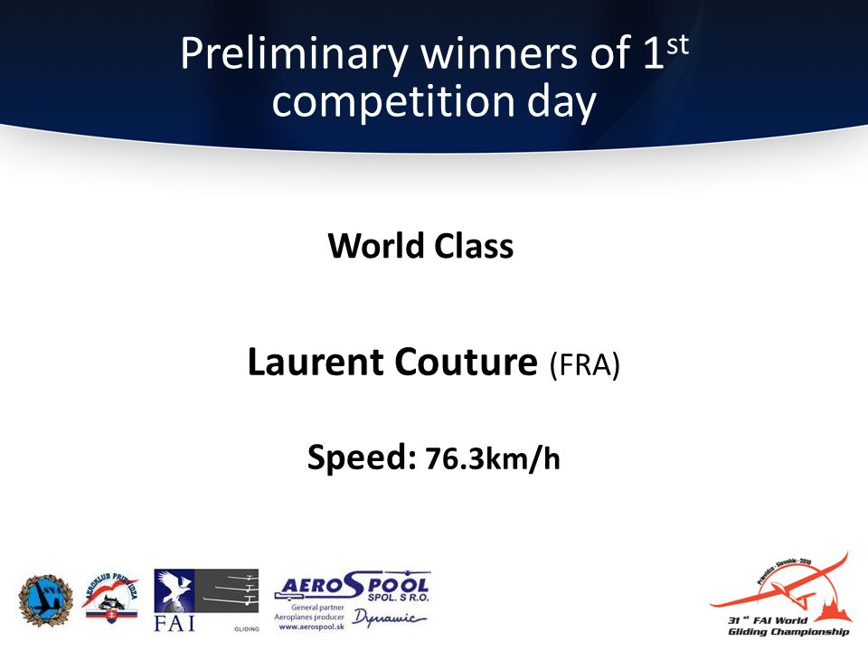 Preliminary winners of 1 st competition day Laurent Couture (FRA) Speed: 76.3km/h World Class