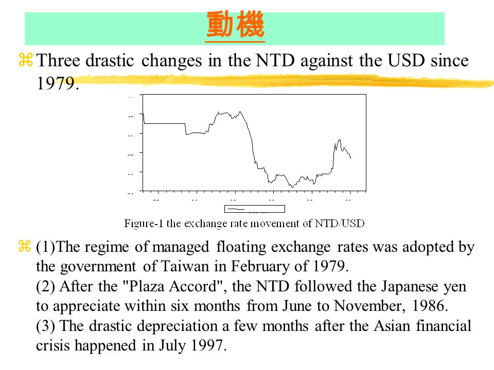 動機 zThree drastic changes in the NTD against the USD since 1979.