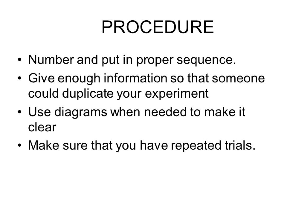 PROCEDURE Number and put in proper sequence.