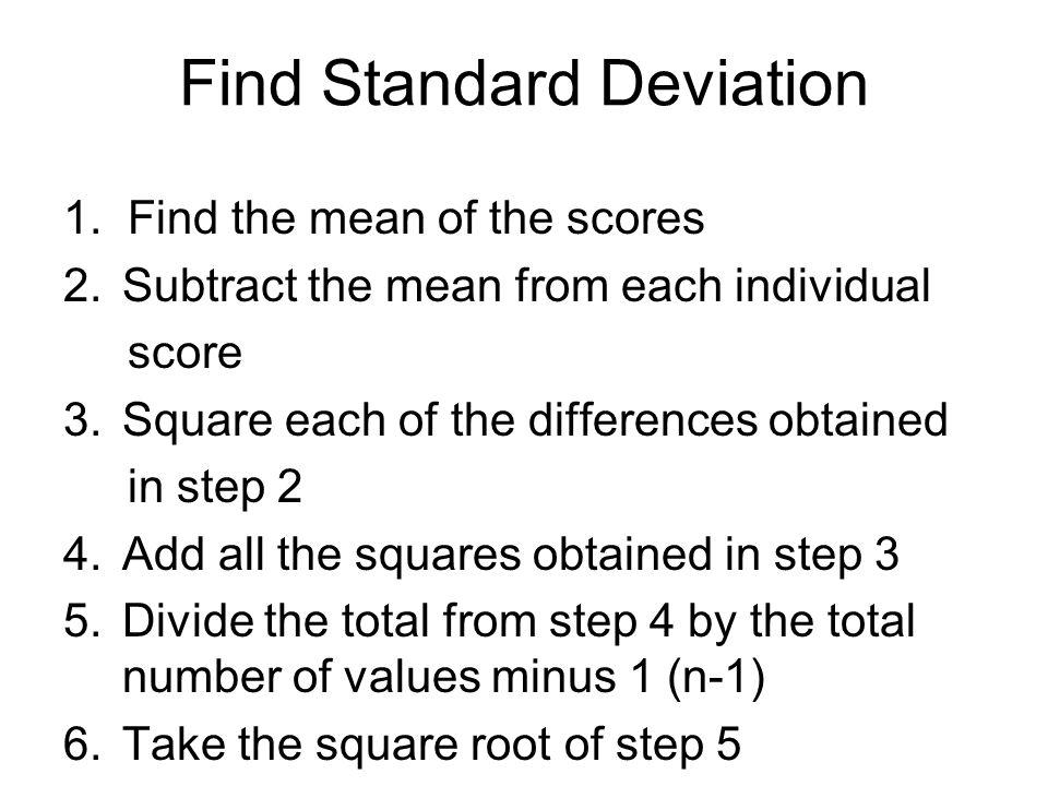 Find Standard Deviation 1.