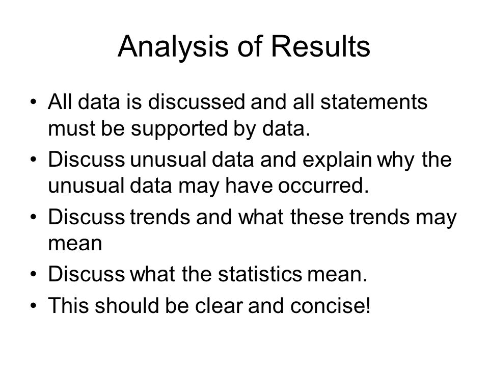 Analysis of Results All data is discussed and all statements must be supported by data.